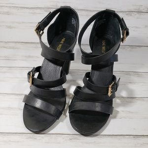Nine West Seraphina Black Strappy Sandals Size 10M